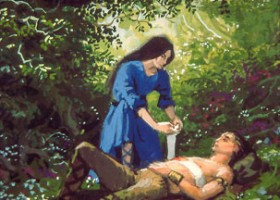 Lúthien Tends Beren's Wound