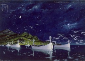 The Ships of the Teleri Drawn by Swans