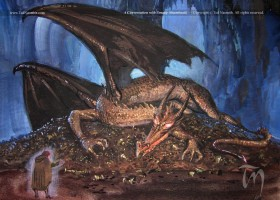 A conversation with Smaug (colour sketch)