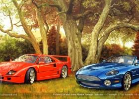 Ferarri F50 and Aston Martin Vantage Cabriolet