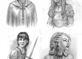 Catelyn Stark, Sansa Stark, Arya Stark, Daenerys Targaryen