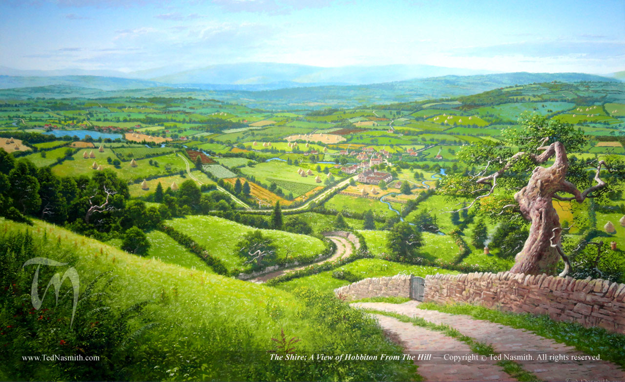 The Shire; A View of Hobbiton From The Hill – Ted Nasmith