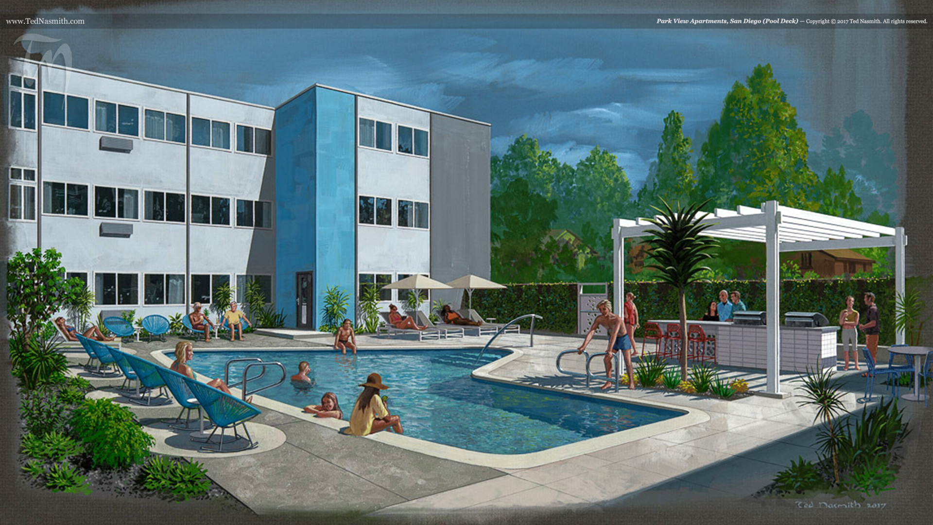 Park View Apartments (Pool Deck) – Ted Nasmith